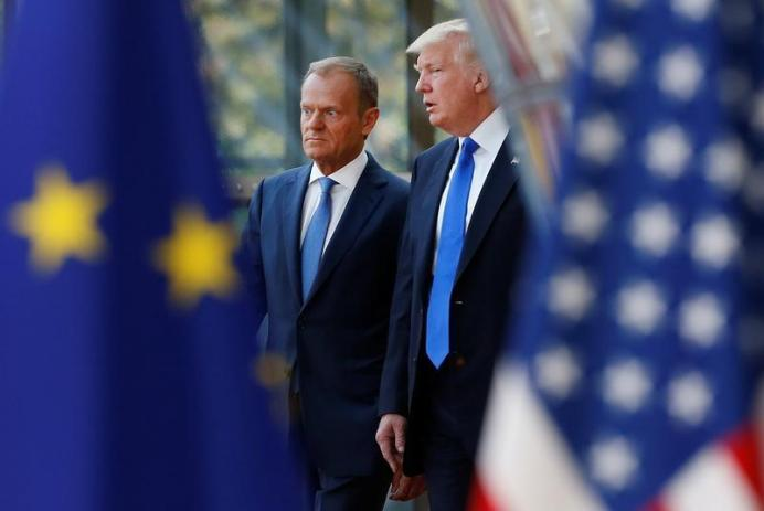 Donald Trump with European Council President Donald Tusk in Brussels. REUTERS/Francois Lenoir