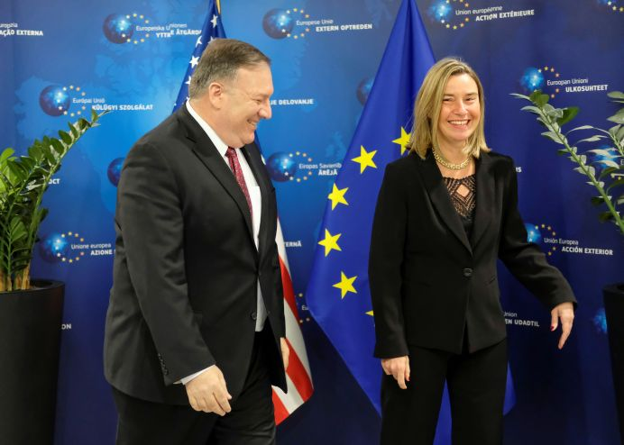 FILE PHOTO: U.S. Secretary of State Mike Pompeo poses with European Union foreign policy chief Federica Mogherini in Brussels, Belgium February 15, 2019. Olivier Hoslet/Pool via REUTERS