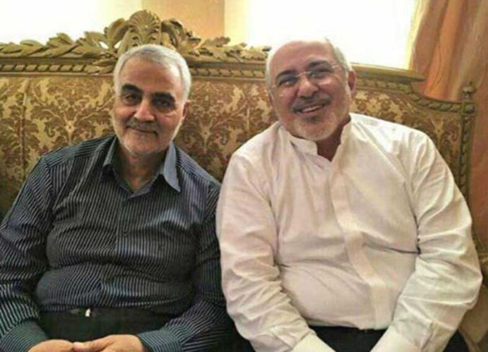 Javad zarif (R) Ghassem Soleimani (L). Source: Kayhan London [unknown location and date]