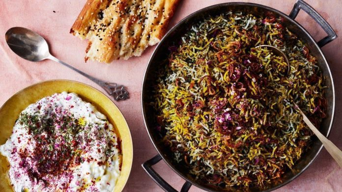 herb-rice-with-green-garlic-saffron-and-crispy-shallots
