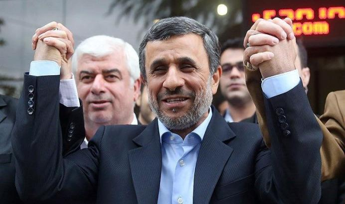 FILE PHOTO: Ex-Iranian President Mahmoud Ahmadinejad reacts as he submits his name for registration as a candidate in Iran's presidential election, in Tehran, Iran April 12, 2017. Tasnim News Agency/Handout via REUTERS