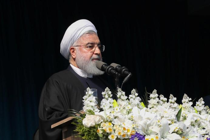 FILE PHOTO: Iranian President Hassan Rouhani is seen during a public speech in the northern province of Gilan, Iran March 6, 2019. Official President website/Handout via REUTERS