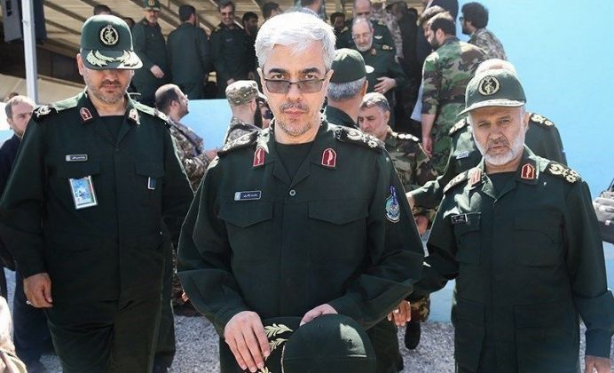 FILE PHOTO: Major general Mohammad Bagheri (center). Source: Tansim Author: Hossein Zohrevand. [The file is licensed under a Creative Commons Attribution 4.0 International License.]