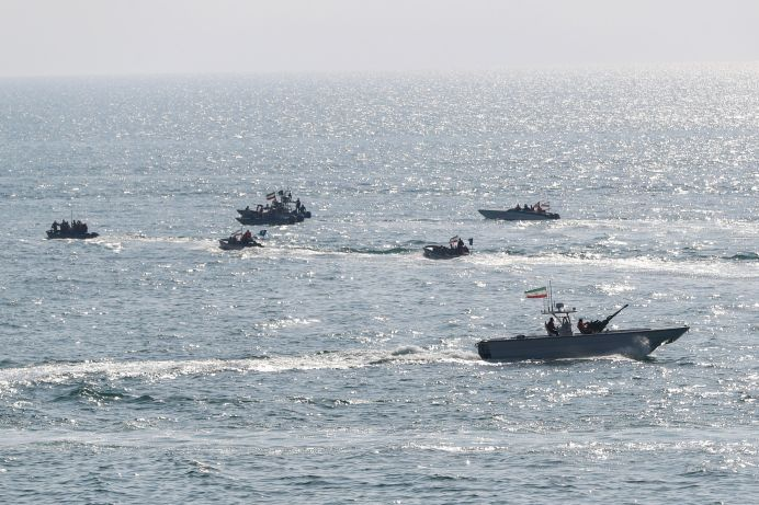 FILE PHOTO: Military units of the IRGC Ground Force are seen on boats. Reuters./