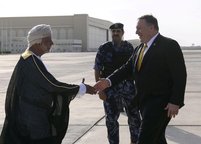 FILE PHOTO: U.S. Secretary of State Mike Pompeo is greeted by Oman's Minister of Foreign Affairs Yusuf bin Alawi bin Abdullah, upon his arrival at the Seeb South airfield in capital Muscat, Oman January 14, 2019. Andrew Caballero-Reynolds/Pool via REUTERS