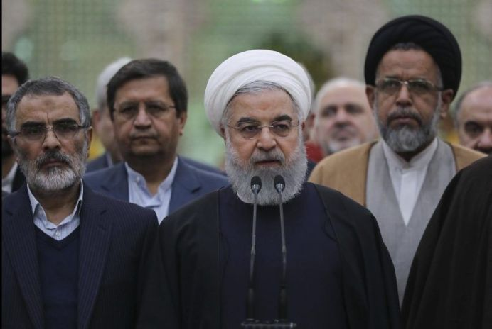 FILE PHOTO: Iran's President Hassan Rouhani speaks during his visit to the shrine of the founder of the Islamic Republic, Ayatollah Ruhollah Khomeini, south of Tehran, Iran. REUTERS./