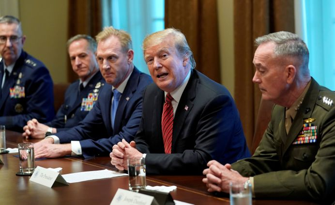 U.S. President Donald Trump holds a meeting with senior military leaders at the White House in Washington, U.S., April 3, 2019. REUTERS/Kevin Lamarque