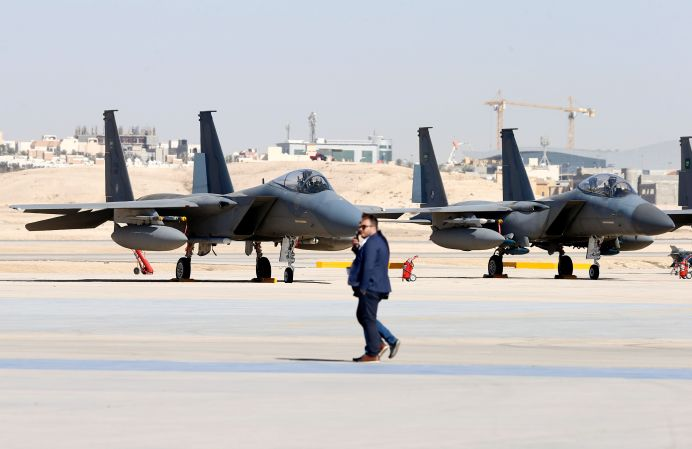 FILE PHOTO: F-15SA fighter jets are seen during a graduation ceremony and air show marking the 50th anniversary of the founding of King Faisal Air College in Riyadh, Saudi Arabia. REUTERS/Faisal Al Nasser