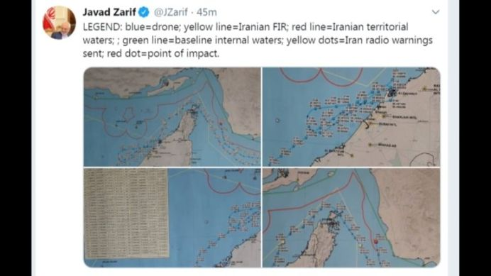 Iran foreign minister tweets map with detailed coordinates of drone. Reuters