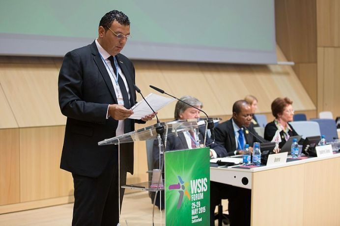 FILE PHOTO: Nizar Zakka Speaking at the WSIS Forum 2015. (Source https://www.flickr.com/photos/itupictures/17978202670/in/photolist-tFg3bi-toEZiy-tFmVnT/ Author:ITU/I.Wood)[This file is licensed under the Creative Commons Attribution 2.0 Generic license.]