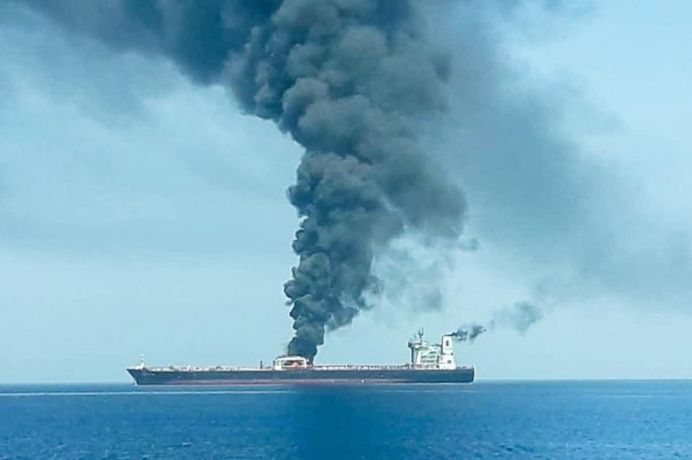 The attacks were the second in a month near the Strait of Hormuz, a major strategic waterway for world oil supplies. ISNA/via REUTERS