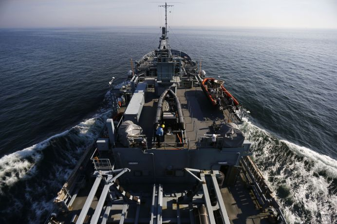 FILE PHOTO: View from the bridge of the German Navy Tender A515 as it sails during NATO Submarine Rescue Exercise Dynamic Monarch on Gdansk Bay, near Hel in the Baltic Sea, May 22, 2014. REUTERS