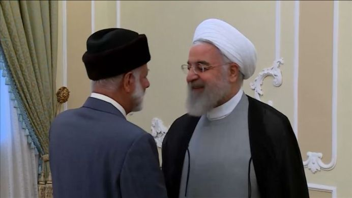 Omani Foreign Minister, Yousuf Bin Alawi Bin Abdullah, Meeting with Iranian President, Hassan Rouhani. REUTERS./