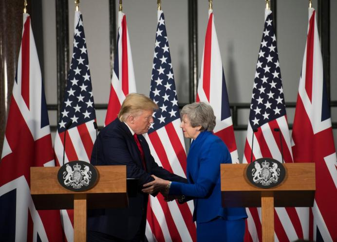 FILE PHOTO: British Prime Minister Theresa May and U.S. President Donald Trump attend a joint news conference at the Foreign & Commonwealth Office, in London, Britain June 4, 2019. Stefan Rousseau/Pool via REUTERS