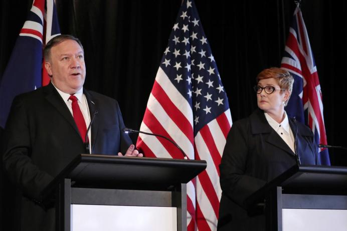 FILE PHOTO: U.S. Secretary of State Mike Pompeo and Australia's Foreign Minister Marise Payne, August 4, 2019. REUTERS/Jonathan Ernst/