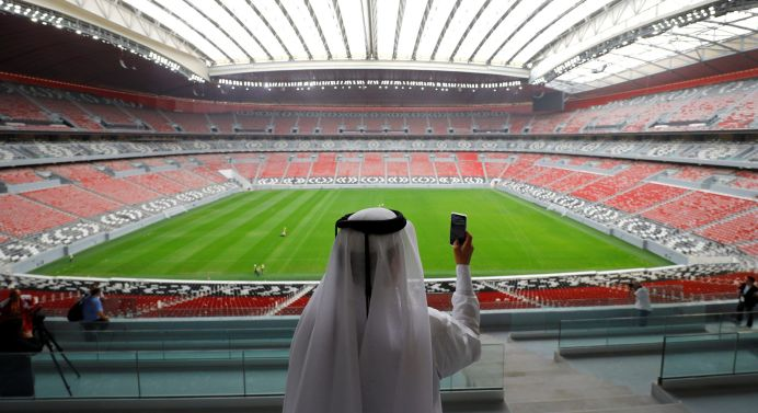 FILE PHOTO: A general view shows the Al Bayt stadium, built for the upcoming 2022 FIFA World Cup soccer championship, during a stadium tour in Al Khor, north of Doha, Qatar. REUTERS./