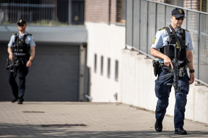 Danish police patrol outside the courthouse in Roskilde, Denmark June 26, 2020. REUTERS./