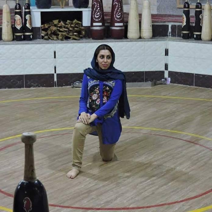 FILE PHOTO: Elahe Ramzkhah, an Iranian athlete in zurkhaneh. Kayhan London.