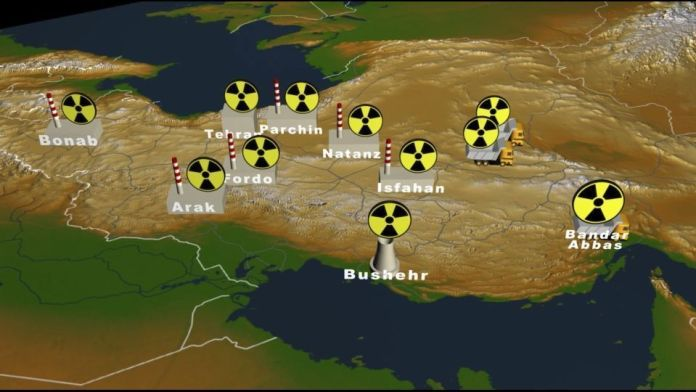 Iran map with its nuclear facilities
