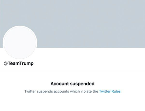 The suspended Twitter account for U.S. President Donald Trump's campaign @TeamTrump is seen in this screengrab obtained via social media on January 8, 2021. Twitter via REUTERS./