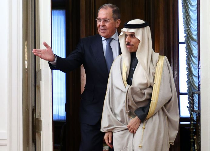 MOSCOW, RUSSIA - JANUARY 14, 2021: Russia's Foreign Minister Sergei Lavrov (L) and Saudi Arabia's Foreign Minister Faisal bin Farhan Al-Saud meet for talks at the Russian Foreign Ministry Reception House. REUTERS./