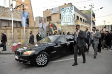 A motorcade leaves the Syro-Catholic Cathedral of 'Our Lady of Salvation' after Pope Francis' visit, in Baghdad, Iraq March 5, 2021. Vatican Media/Handout via REUTERS ATTENTION EDITORS - THIS IMAGE WAS PROVIDED BY A THIRD PARTY.