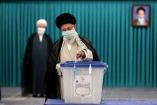 Iran's Supreme Leader Ayatollah Ali Khamenei casts his vote during Iranian presidential election in Tehran, Iran June 18, 2021. REUTERS./