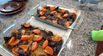 4. Add in tomatoes to eggplants/or/zucchinis, onions & mushrooms.