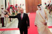 Iraq's President Barham Salih welcomes Qatar's Emir Sheikh Tamim bin Hamad al-Thani ahead of the Baghdad summit at the Green Zone in Baghdad, Iraq August 28, 2021. REUTERS/Thaier Al-Sudani