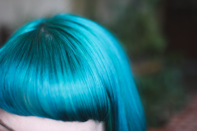 blue hair with bangs