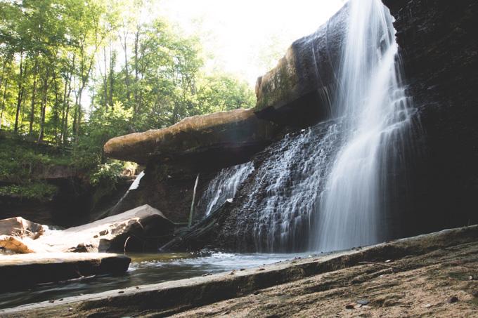 urban waterfall, ohio, waterfall, bedford reservation