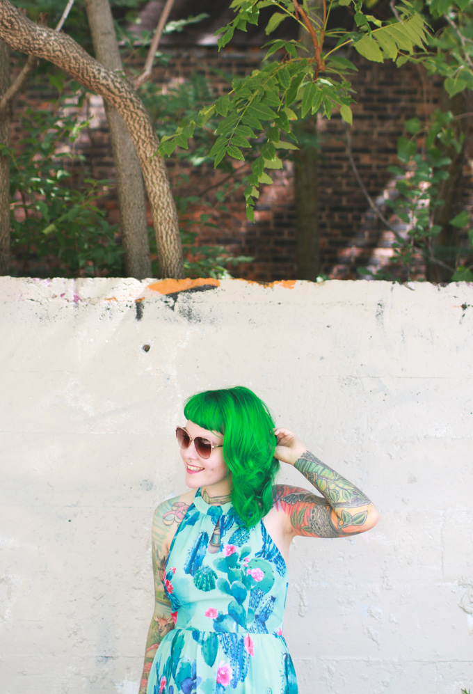 green hair, cleveland fashion blog, what I wore, outfit post