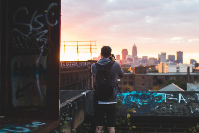 skyline, sunset, cleveland, abandoned