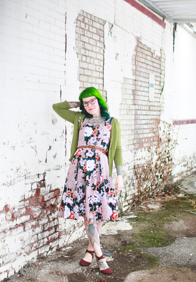 green hair, the dainty squid, outfit of the day, fashion blog, cleveland blogger
