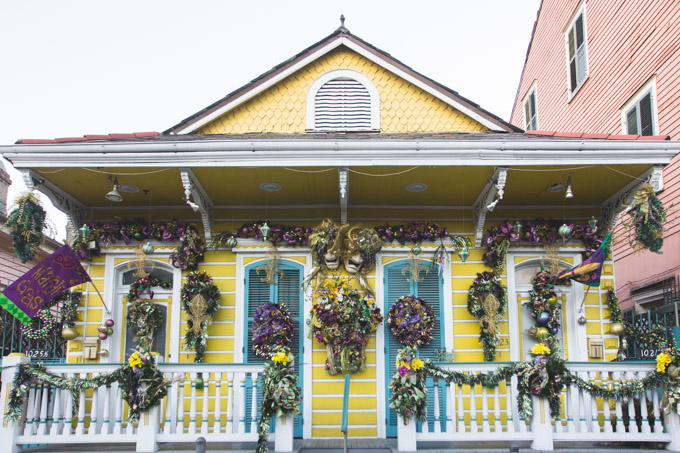 colorful house, yellow, mardi gras