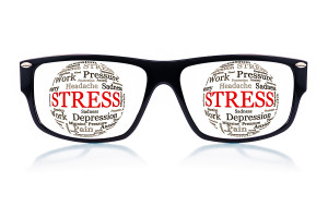Black eyeglasses with spheres made of words related to stress an