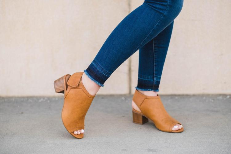 leather chunky heels