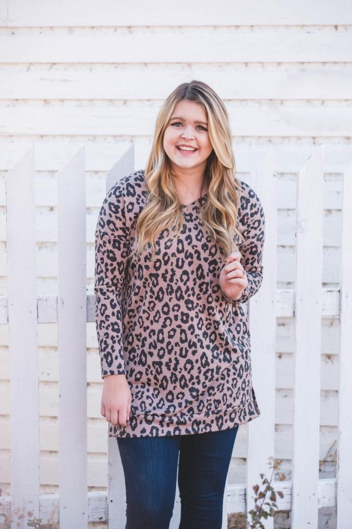 leopard print Pink Blush sweater