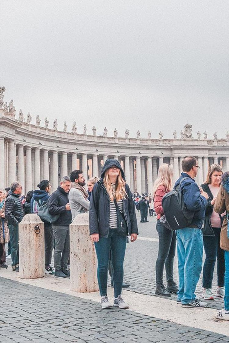 standing in line for st peter's basilica in rome italy