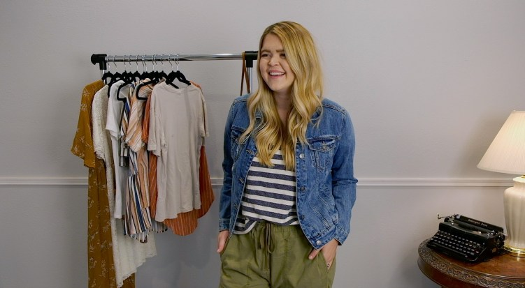 Denim jacket with striped shirt and green utility pants