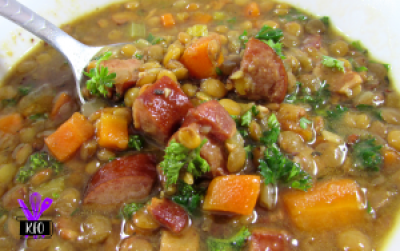 Instant Pot cooked soup, with lentils sausage bacon and veggies