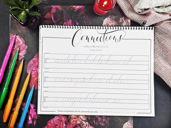 Level Up Brush Calligraphy Workbook Page Connections