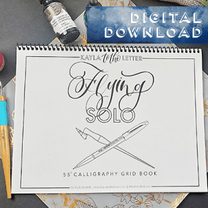 Flying Solo Brush Calligraphy Practice Grid Digital Download