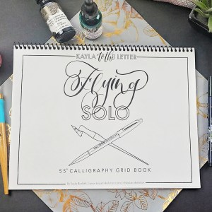 Flying Solo Brush Calligraphy Grid Practice Workbook
