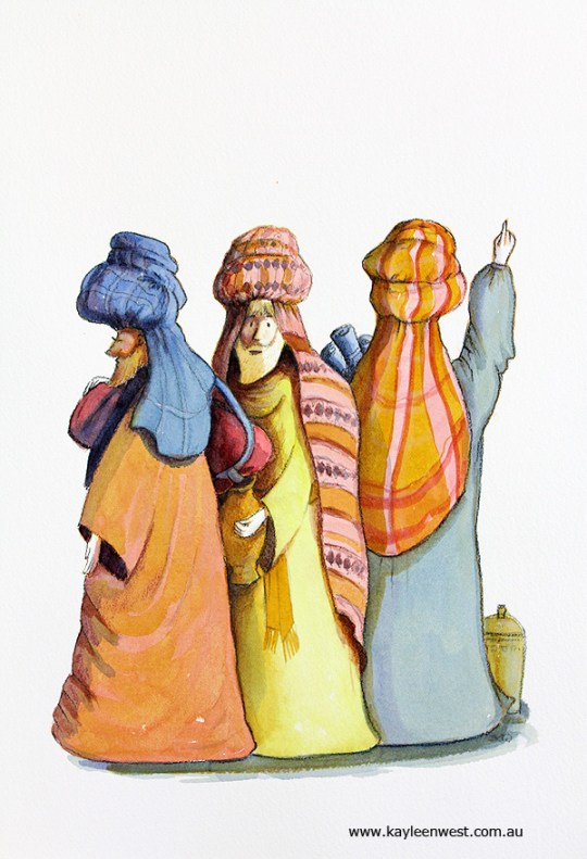 Children's Illustration or Gift Card Illustration : Three Wise Men