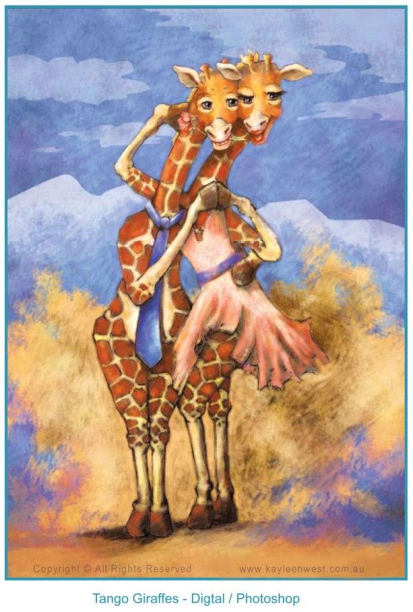 Childrens Illustration Dancing Giraffes - Kayleen West