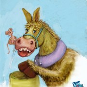 52 Week Gift Card Challenge – #17 Donkey Illustration in digital pastel.