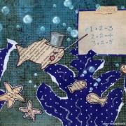 School of fish. Mixed media children's illustration.