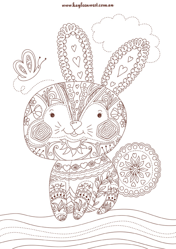 2015 08 14 patchwork bunny colouring page sepia 01