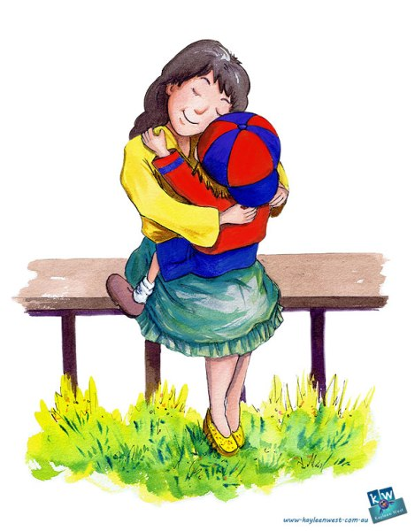 Mother and child hugging. Page spread from children's picture book, Better Than A Superhero.